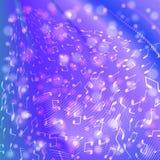 Muzyk notatki na błękitnym purpurowym tle Obrazy Royalty Free