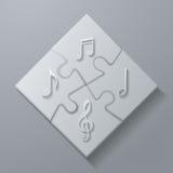 Muzyk notatki na Białym łamigłówki tle Obraz Stock