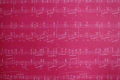 Muzyk notatki na różowym tle Fotografia Stock