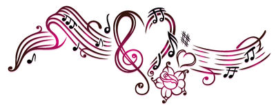 Muzyk notatki z clef royalty ilustracja
