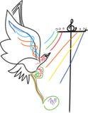 Muzyk notatki z ptakami royalty ilustracja