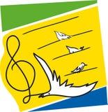 Muzyk notatki z ptakami ilustracja wektor