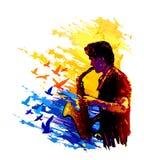 Muzyk, saksofonowy gracz pojęcia kolorowego ilustracyjny wakacje złagodzone wektora Zdjęcia Stock