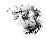 Muzyk, tubowy gracz również zwrócić corel ilustracji wektora Fotografia Stock