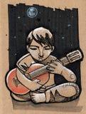 Muzyk w nocy royalty ilustracja