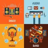 Muzyka, audio, dyskoteka, zespołu mieszkania ikony ilustracji