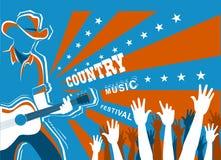 Muzyka country koncert z muzykiem bawić się gitarę royalty ilustracja