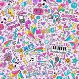 Muzyka Doodles Groovy Bezszwowego Deseniowego tło Zdjęcia Stock
