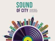 Muzyka i miasta krajobrazowy tło Zdjęcie Royalty Free