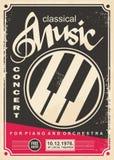 Muzyka klasyczna koncert dla pianina i orkiestry retro plakatowego projekta ilustracji