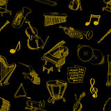 Muzyka klasyczna materiału bezszwowy wzór Fotografia Stock