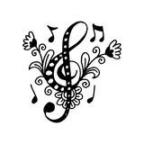 Muzyka kluczowy dekoracyjny styl royalty ilustracja