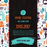 Muzyka koncertowy wektorowy plakatowy szablon Może używać dla printable promoci z literowania i doodle rzeczami ilustracja wektor