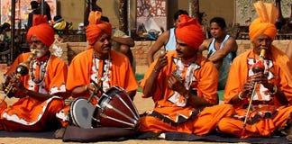 Muzyka Ludowa i taniec węży podrywacze Haryana, India zdjęcia stock