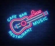 Muzyka na żywo neonowego znaka wektor, plakat, emblemat dla muzyka na żywo festiwalu, muzyczni bary, karaoke, noc kluby Szablon d ilustracja wektor
