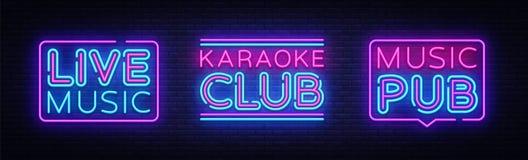 Muzyka Na Żywo neonowych znaków kolekci wektor Karaoke klubu projekta szablonu neonowy znak, lekki sztandar, neonowy signboard, n royalty ilustracja