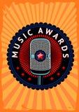 Muzyka nagradza wektorowego plakat Konkursu emblemat z mikrofonem Talentu przedstawienie Stoi w górę tła wydarzenia ilustracji
