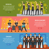 Muzyka Popularna Horyzontalni sztandary ilustracja wektor
