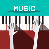 Muzyka - ręki Bawić się pianino Fotografia Royalty Free