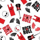Muzyka rockowa bezszwowy wzór Gitara i czaszka Skrzydła i skała ilustracja wektor
