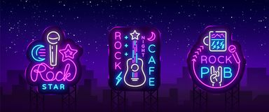 Muzyka Rockowa inkasowi Neonowi logowie Wektorowi Rockowy pub, kawiarnia, gwiazda rocka Neonowi znaki, Konceptualni symbole, Jask royalty ilustracja