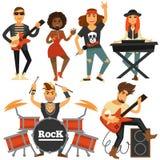 Muzyka rockowa zespołu piosenkarz, basowy gitarzysta i perkusja gracza wektorowe płaskie ikony, royalty ilustracja