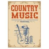 Muzyka rocznika koncertowy plakat na starym papierowym tle z gitarą Fotografia Royalty Free