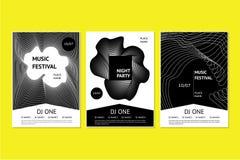 Muzyka taneczna festiwalu plakaty z abstrakcjonistyczny geometrycznym gładzą linię Zaproszenie szablony dla noc klubu bawją się z Obrazy Stock