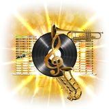 Muzyka w błysku, treble clef, winylowym saksofonie i trąbce, Obraz Royalty Free