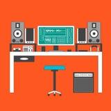 Muzyka workspace cienka kreskowa ilustracja Fotografia Royalty Free