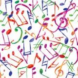 Muzyka wzór Muzyk notatki i znaka multicolor tło Obraz Stock