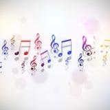 Muzyka Zauważa Multicolor tło Obrazy Royalty Free