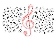 Muzyka zauważa ikony clef ilustracyjny czerwony treble wektor Obraz Royalty Free
