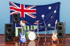 Muzyka, zespoły rockowi od Australia pojęcia, 3D rendering royalty ilustracja