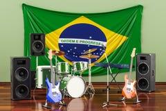 Muzyka, zespoły rockowi od Brazylia pojęcia, 3D rendering royalty ilustracja