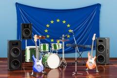 Muzyka, zespoły rockowi od Europejskiego zjednoczenia pojęcia, 3D rendering ilustracja wektor