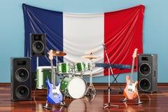 Muzyka, zespoły rockowi od Francja pojęcia, 3D rendering ilustracja wektor