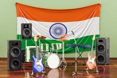 Muzyka, zespoły rockowi od India pojęcia, 3D rendering ilustracji