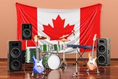 Muzyka, zespoły rockowi od Kanada pojęcia, 3D rendering ilustracja wektor