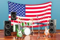 Muzyka, zespoły rockowi od Stany Zjednoczone pojęcia, 3D rendering ilustracji