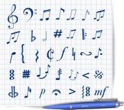 Muzyka znaki i notatki Obraz Stock