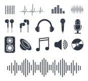 Muzykalne ikony Odznaki dla odtwarzacza muzycznego również zwrócić corel ilustracji wektora ilustracji