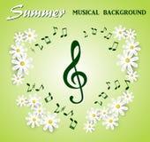 Muzykalne notatki i treble clef na tle biali kwiaty Fotografia Royalty Free