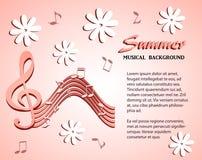 Muzykalne notatki i treble clef na tle biali kwiaty Obrazy Royalty Free