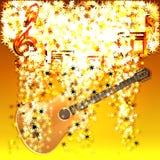 Muzykalne notatki w chmurze gwiazdy i gitara royalty ilustracja