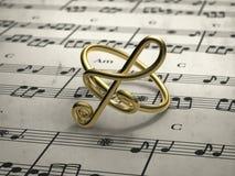 Muzykalnej notatki pierścionek z wynikiem w tle Obrazy Stock