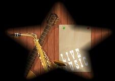 Muzykalny deski gitary saksofonu cień royalty ilustracja