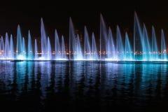 Muzykalny fontanny przedstawienie w Sharjah Zdjęcia Royalty Free
