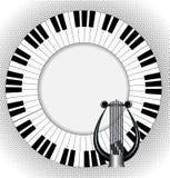 Muzykalny plakat z lirą i fingerboard Obrazy Royalty Free