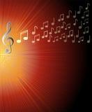 Muzykalny tło z treble clef i notatkami na czerwonym promienia terenie i Narzuta dla koncertowego programa, Obrazy Royalty Free